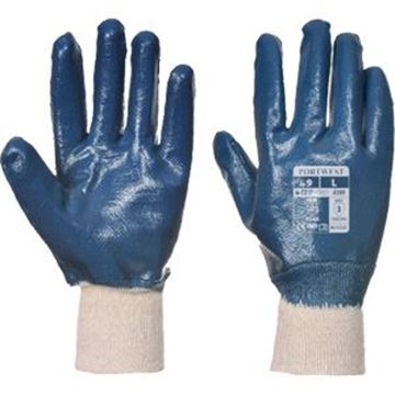 BLUE NITRILE KNIT WRIST GLOVE SIZE 8/M