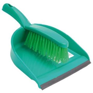 DUSTPAN & BRUSH SET ECONOMY STIFF - GREEN