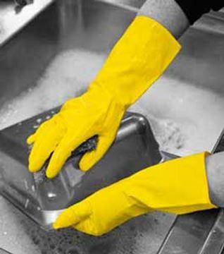 Picture of HOUSE GLOVE - YELLOW SMALL LATEX