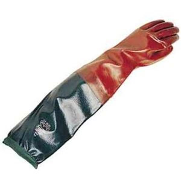Long John Red PVC Coated Gauntlets With Integral Sleeve