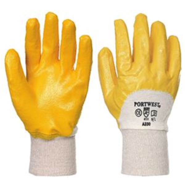 Nitrile L/weight Knitwrist Glove Yellow  XLar