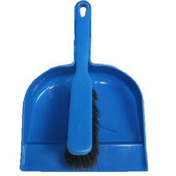 Plastic Dustpan & Brush  Soft  Blue