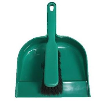 Plastic Dustpan & Brush  Soft Green