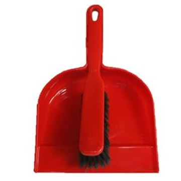 Plastic Dustpan & Brush  Soft Red