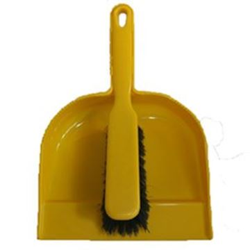 Plastic Dustpan & Brush - Soft Yellow