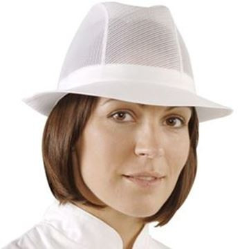 WHITE UNISEX TRILBY - LARGE