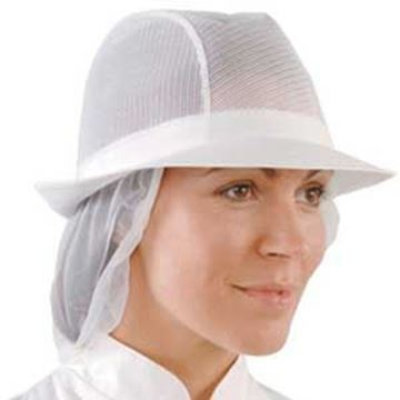 WHITE UNISEX TRILBY with SNOOD - LARGE