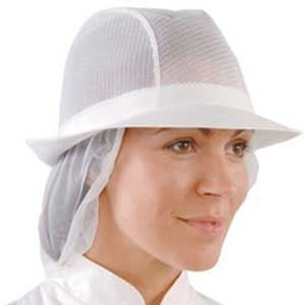 WHITE UNISEX TRILBY with SNOOD - MEDIUM
