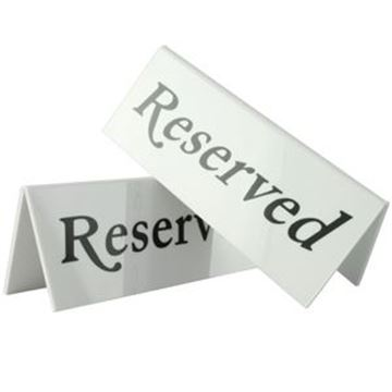 RESERVED TABLE SIGN - WHITE
