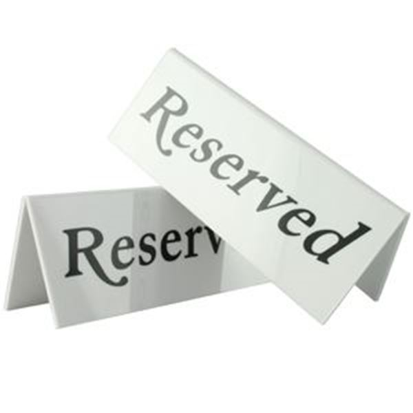 Picture of x10 RESERVED TABLE SIGN - WHITE