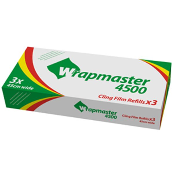 """Picture of x3 45cm CLINGFILM ROLLS WRAPMASTER 450018""""x300m62510"""
