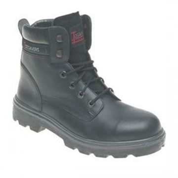 TOESAVERS BLACK LEATHER S3 SAFETY BOOT SIZE 6