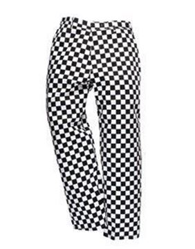 Drawstring Chessboard Check Trousers - Blue
