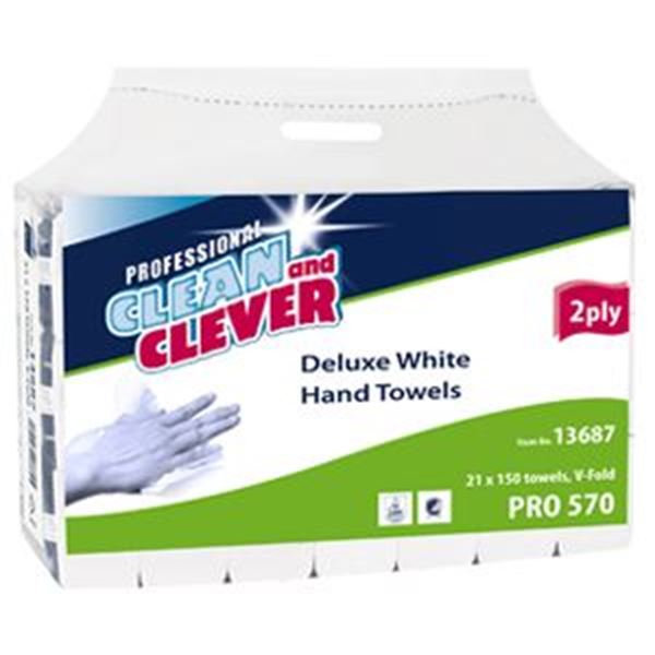 PH2 2ply DELUXE WHITE VFOLD TOWELS