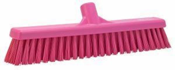 "16"" / 410mm Vikan Platform Soft/Hard  Broom - Pink"