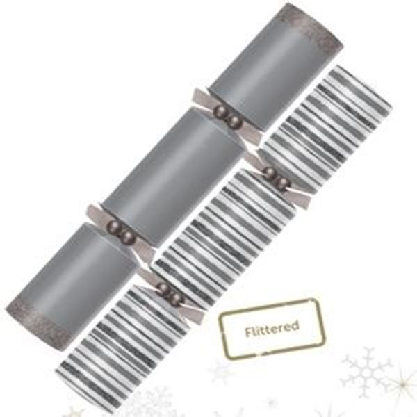 """Picture of 14"""" SILVER FLITTERED STRIPE CRACKER (X) x24"""