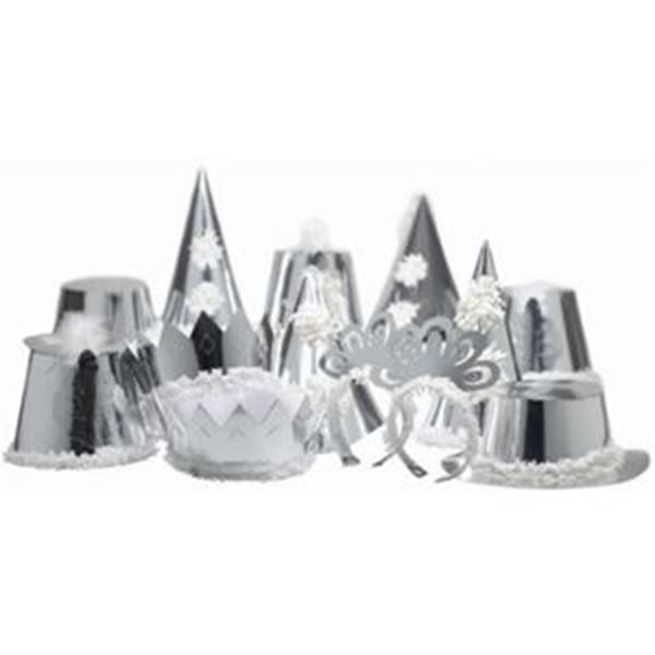 PREMIER SILVER ADULT PARTY HATS