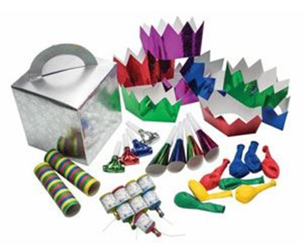 SILVER SNOW FLAKES 8 PERSON PARTY KIT