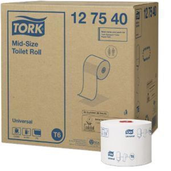 Picture of TORK SOFT MIDSIZE TOILET ROLL 1Ply 27x135m T6