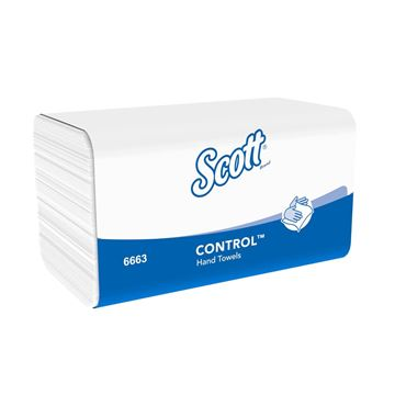 Scott® Control™ Folded Hand Towels 6663 - 15 packs x 212 white, 1 ply sheets.