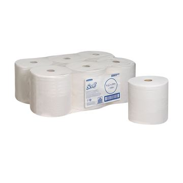 Scott® Performance Hand Towels 6665 - 200m white, 1 ply sheet per roll (case contains 6 rolls)
