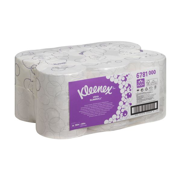 Kleenex® Ultra™ Slimroll™ Rolled Hand Towels 6781 - 6 x 100m white, 2 ply rolls