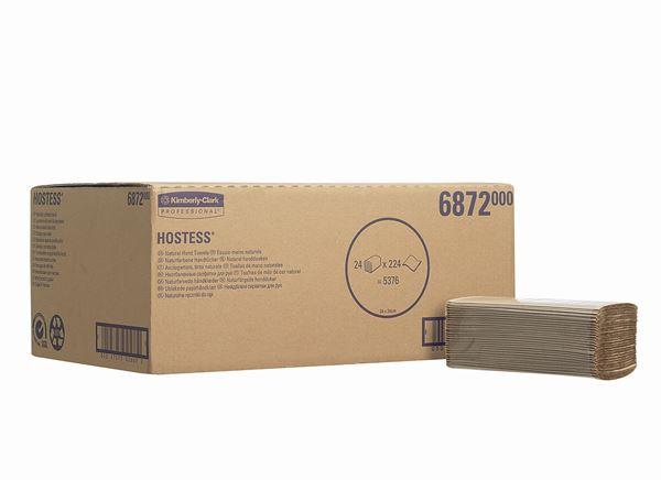 Hostess™ Folded Hand Towels 6872 - – 24 packs x 224 natural, 1 ply sheets