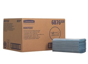 Hostess™ Folded Hand Towels 6876 - 12 packs x 224 small, blue, 1 ply sheets