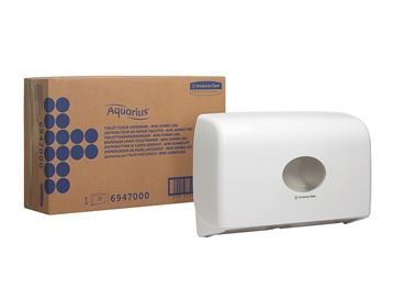 Aquarius™ Twin Mini Jumbo Toilet Tissue Dispenser 6947 – White