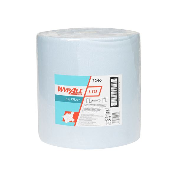 WypAll® L10 Extra+ Wiper Large Roll 7240 - 1 roll x 1,000 blue, 1 ply sheets