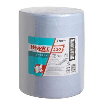 WypAll® L20 Extra+ Wiper Large Roll 7301 - 1 roll x 500 blue, 2 ply sheets