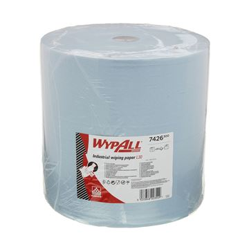 WypAll® Industrial Wiping Paper L30 Jumbo Roll - Extra Wide 7426 - 1 roll x 670 sheets, 3 ply, blue