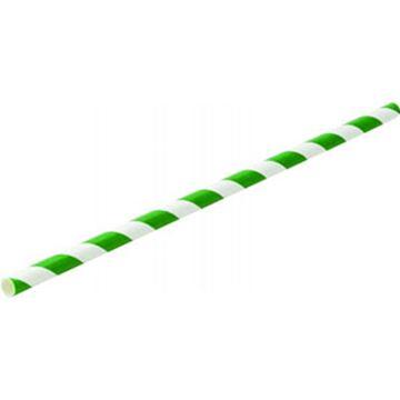 "Picture of x250 8"" Green Stripe PAPER STRAWS"