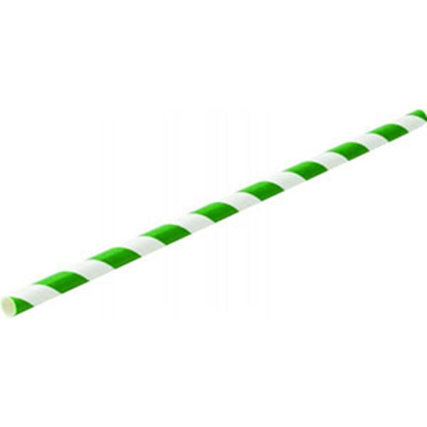 "Picture of x250 8"" Green Stripe PAPER STRAWS"