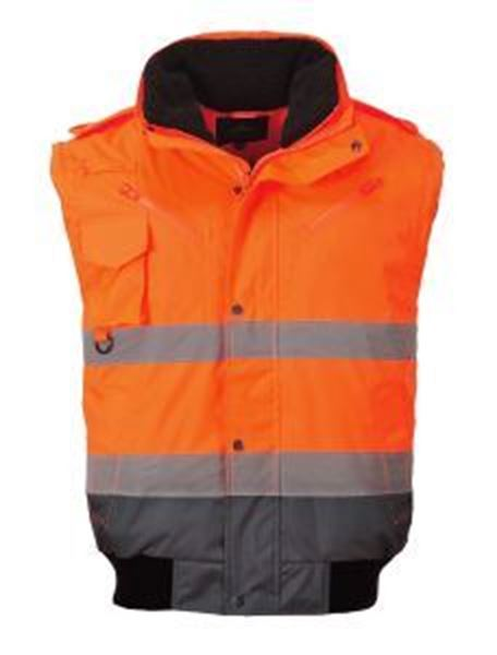 Picture of Hi Vis Contract Bomber Jacket - Orange/Navy