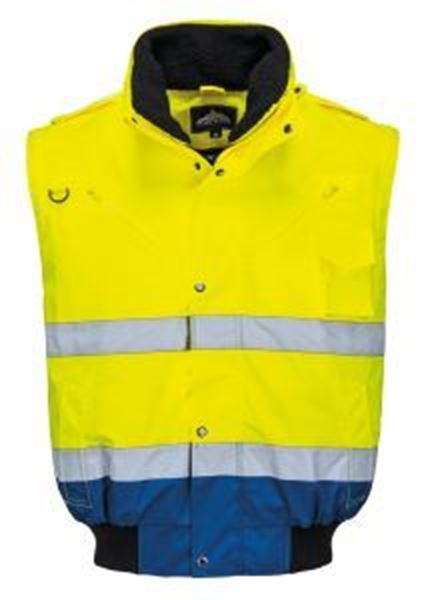 Picture of Hi Vis Contract Bomber Jacket - Yellow/Navy