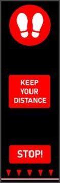Keep Your Distance Footprint Mat - Red