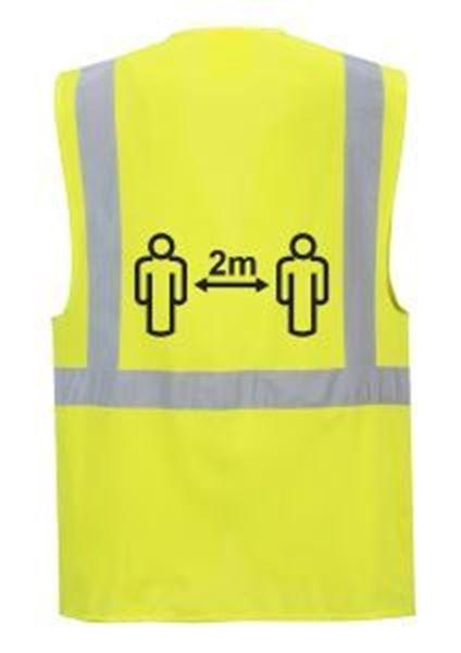Hi-Vis Executive Waistcoat 2m Social Distance - Yellow