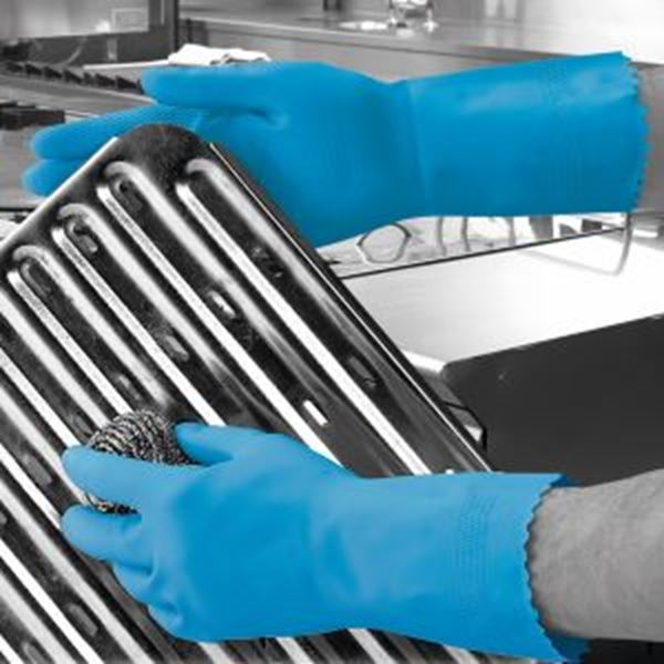 Picture of Optima Mweight Latex Household Glove - Blue