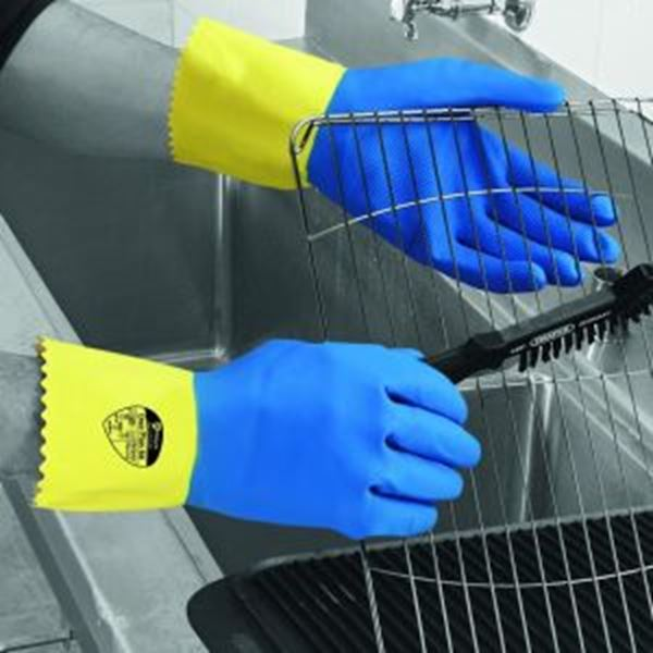 Picture of Duo Plus 60 D/Dip Latex Glove - Blue/Yellow