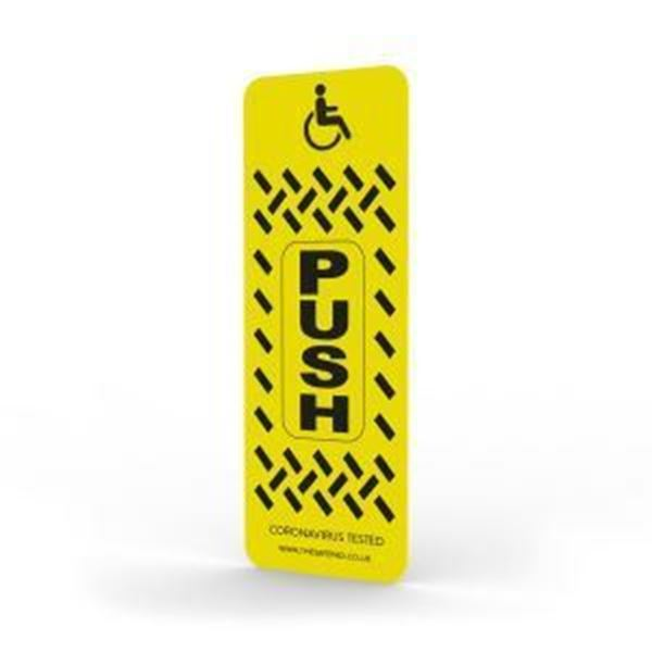 Picture of SafePad Antimicrobial Disabled Door Push Plate 110x40x0.45mm (LxWxD) Yellow