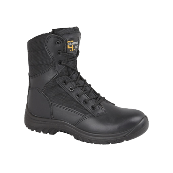 Picture of BLACK LEATHER /NYLON SIDE ZIP SAFETY COMBAT BOOT - SIZE 8