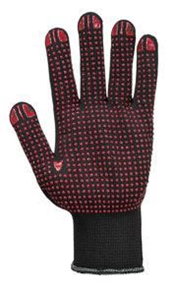 Picture of POLKA DOT GLOVE BLACK/RED - LARGEPOLY/COTTON WITH PVC DOT