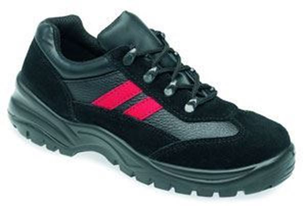 Picture of * Leather Safety Trainer Shoe - Black/Red size 9