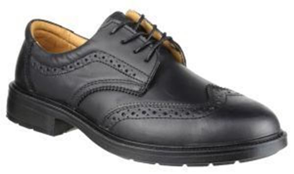 Picture of * 4 Eyelet Brogue Safety Shoe - Black Size 6 * Clearace