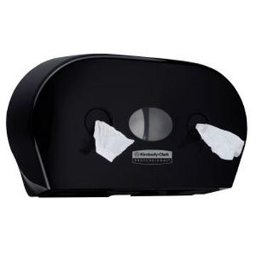 Picture of 7187 Aquarius Mini Twin Roll Centrefeed Toilet Paper Dispenser - Black