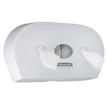 Picture of 7186 Aquarius Mini Twin Roll Centrefeed Toilet Paper Dispenser - White
