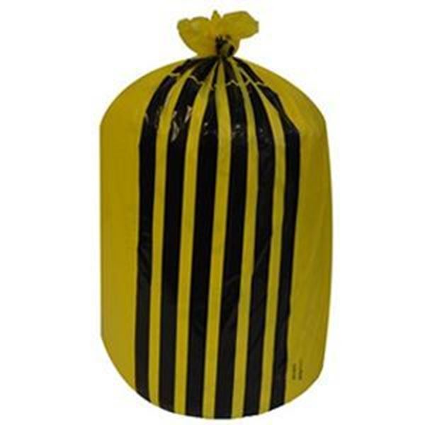 """Picture of x500 YELLOW TIGER STRIPE SACK 8x17x26"""" MED (10 rolls x50)"""
