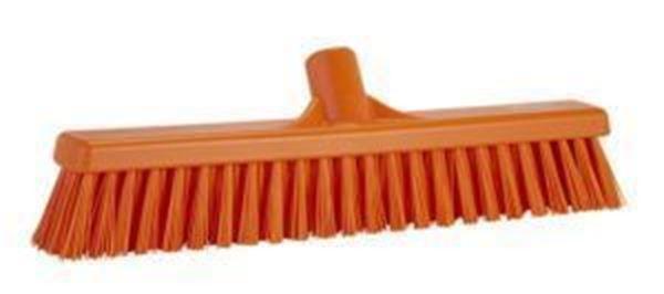 "16"" / 410mm Vikan Platform Soft/Hard  Broom - Orange"