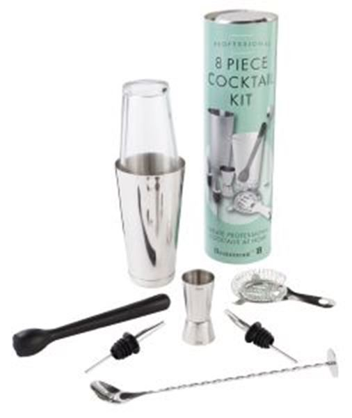 Picture of Professional 8 Piece Cocktail Kit (inc. Muddler, 2x Pourers,Jigger, Strainer, Boston Can, Boston Glass, Spoon/Masher)